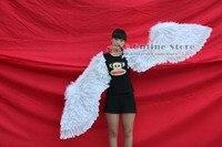 EMS Livraison gratuite spécial grande taille Souple Naturel plume d'ange ailes défilé de mode cosplay props blanc noir rouge Pur à la main