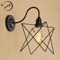 Винтажная железная клетка настенная лампа креативный черный настенный светильник LED E27 с 2 вида стилей для спальни гостиной ресторана столо...