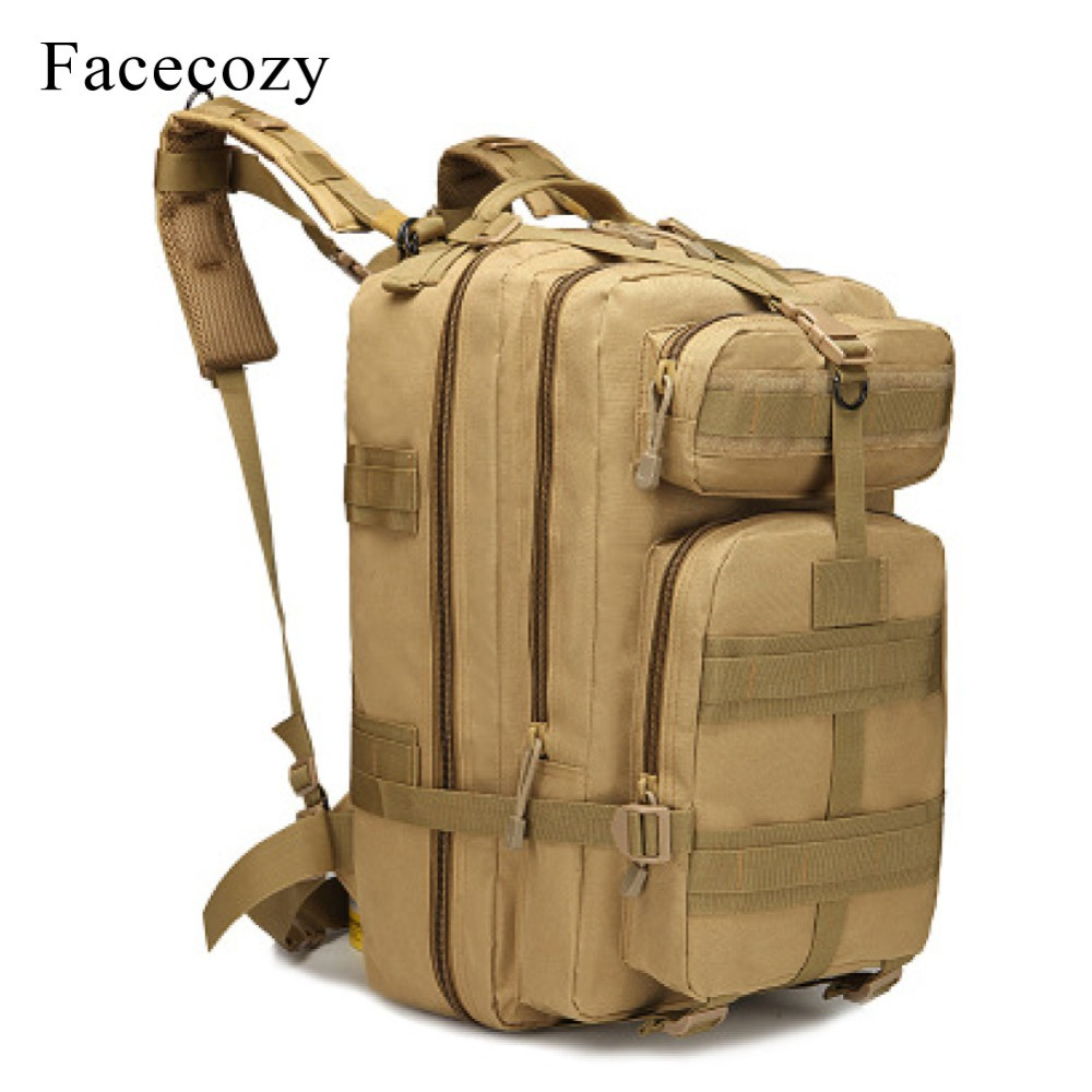 Facecozy Large Military Tactical Backpack Camouflage 1000D Nylon Camping Kit Bag 45L Waterproof Coating Outdoor Sports