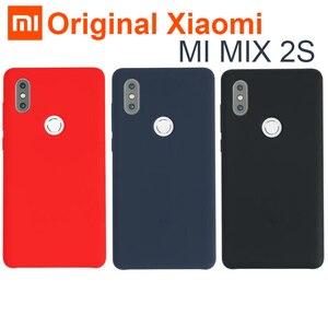 Image 1 - Original Xiaomi Mi MIX 2S Case Cover Genuine Silicone + soft fiber Durable comfortable shockproof shell for Mi Mix 2X MIX2S 5.99