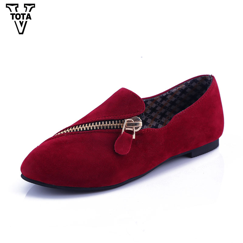 VTOTA New Autumn Women Flats Slip On Shoes Woman Zipper Driving Loafers Moccasins Soft Round Toe Women Shoes Zapatos Mujer XY2