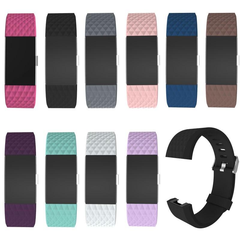 imágenes para Para Fitbit cargo 2 bandas de silicona, 10 unids/lote Accesorios Bandas De Silicona correa para Fitbit Cargo 2, Se Adapta A 6.1-8.3 pulgadas 10 colores