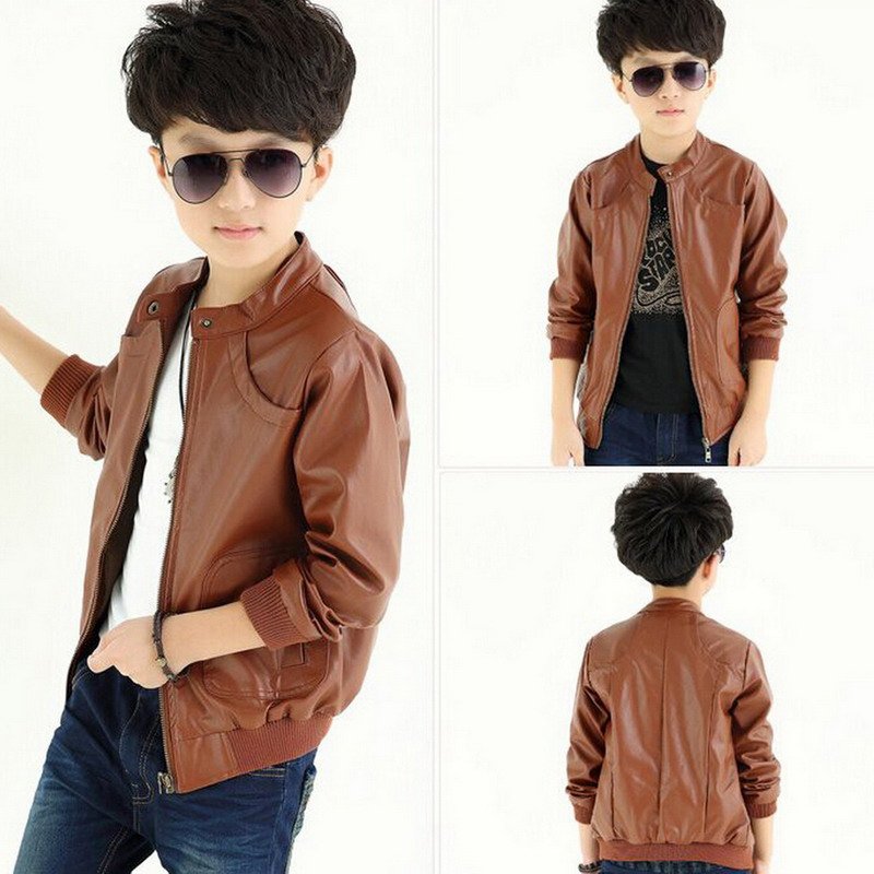 1Pcs Trendy Stand Collar PU Leather Spring Autumn Jacket Warm Coat ...