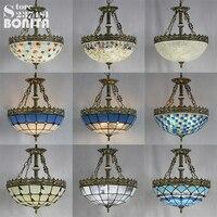 Mediterranean Glass shell Mosaic pendant lamp ceiling retro hanging lights bedroom Bohemia pendant lights for restaurants