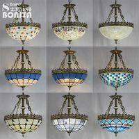 Mediterranean Glass shell Mosaic pendant lamp ceiling retro hanging lights bedroom Bohemia pendant lights for restaurants