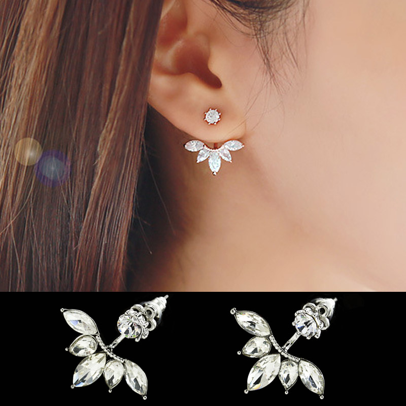 Leaf Crystals Stud Earring for Women Silver color Double Sided Fashion Jewelry Earrings female Ear Jacket brincos Pending Mujer chain