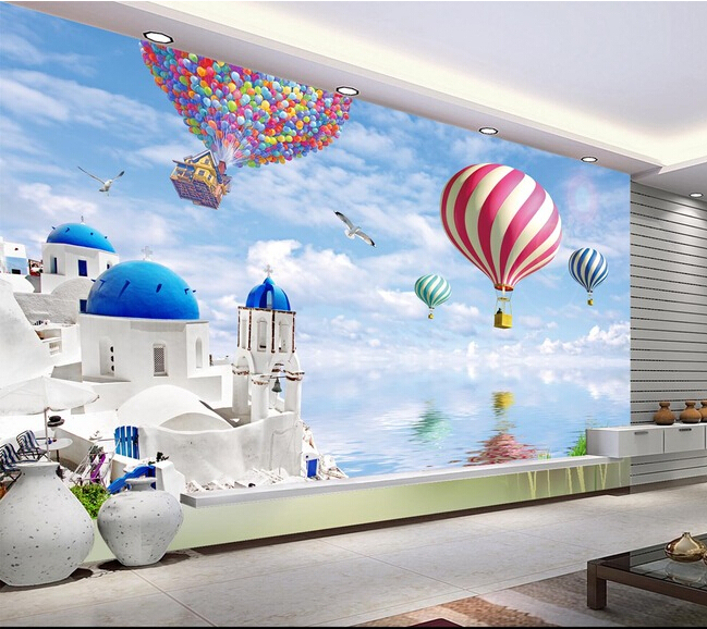 The custom 3D murals,3 d love the sea, and the balloon to travel around ,living room sofa TV wall bedroom wall paper given to the sea