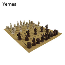 Yernea New Traditional Chinese Chess Game Set Resin Chess Pieces Suede Leather Chessboard High-quality Chess Board Game Retro цена