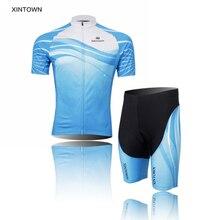 XINTOWN Blue Men Cycling Jersey Bicycle Bib Shorts Cycle Ropa Ciclismo Short Sleeves Shirt Bike Sport Jersey