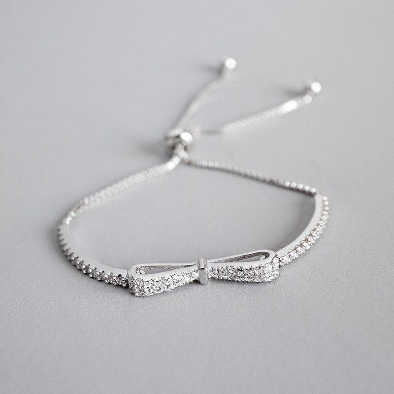 ABC silver S925 pure fashion moda Color Plata nuevo bow tie micro ajustables pulseras brazaletes para mujeres bracelet Butterfly