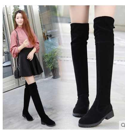 Hot Boots หญิงฤดูหนาวรองเท้าผู้หญิงกว่าเข่าบู๊ทส์แบนยืดเซ็กซี่แฟชั่นรองเท้า 2018 สีดำ XL34--41 ขี่รองเท้า