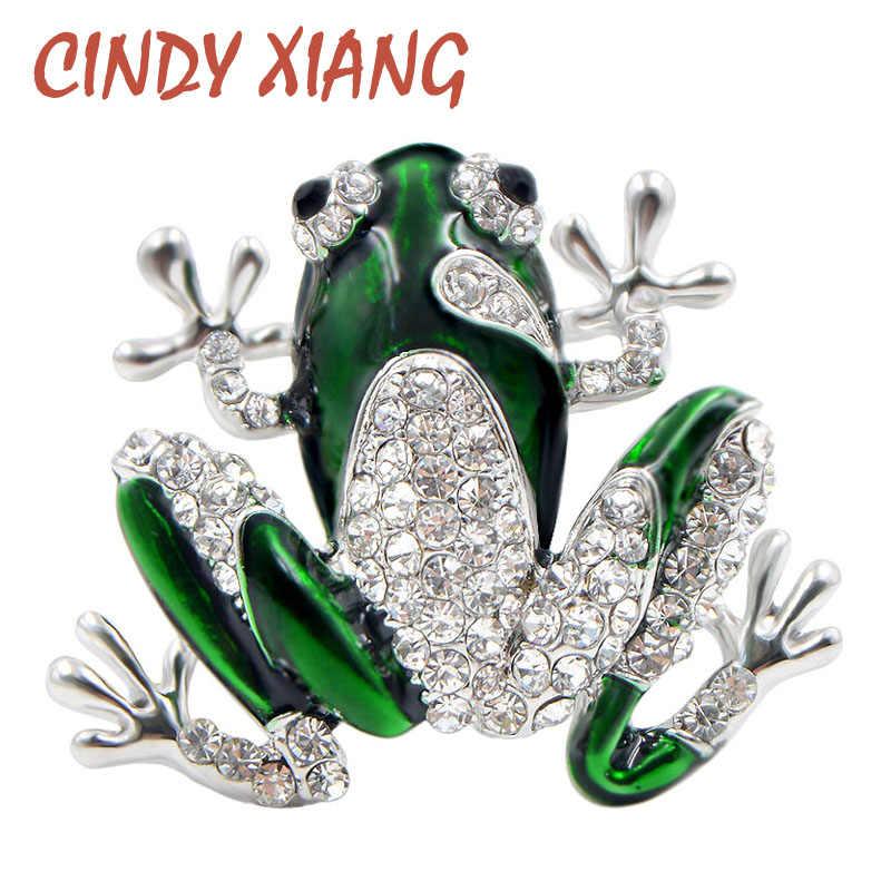 Cindy Xiang Berlian Imitasi Katak Hijau Bros Lucu Unisex Hewan Bros Pin Wanita Pria Gaun Mantel Aksesoris Kualitas Tinggi Ornamen