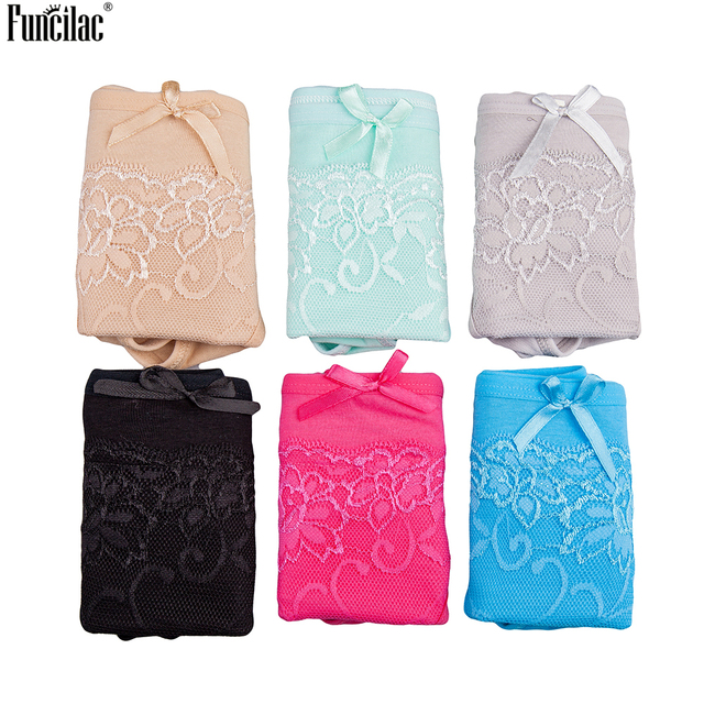 FUNCILAC Underwear Lace Floral Women G String Cotton Underpants Solid Low Rist Panties Sexy Transparent Bfifes Intimates 1 Piece