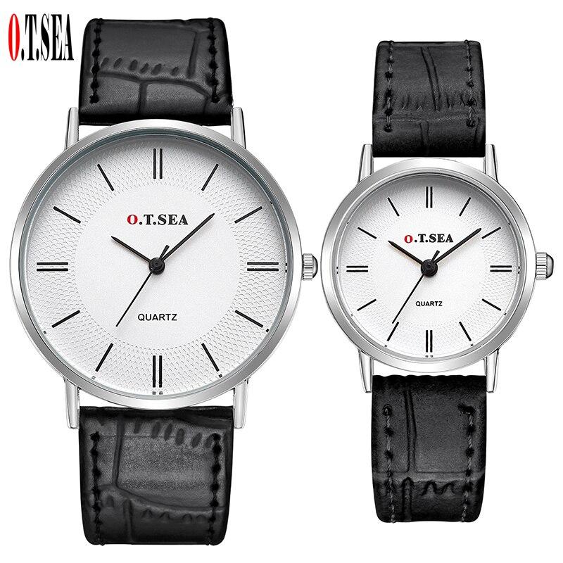 Luxury O T SEA Brand Silver Case Leather Pair watches Men Women Ladies Lovers Fashion Quartz