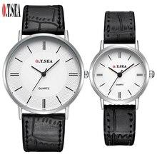 De luxe O. T. MER Marque Argent Cas En Cuir Paire montres Hommes Femmes Lovers Dames De Mode Montre À Quartz Horloge 6688-5