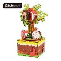Frete Grátis 3D Puzzle DIY Casamento Lembranças Musicais Românticos meninos presentes de aniversário Caixa de Música de Madeira Da Árvore de Natal Casa