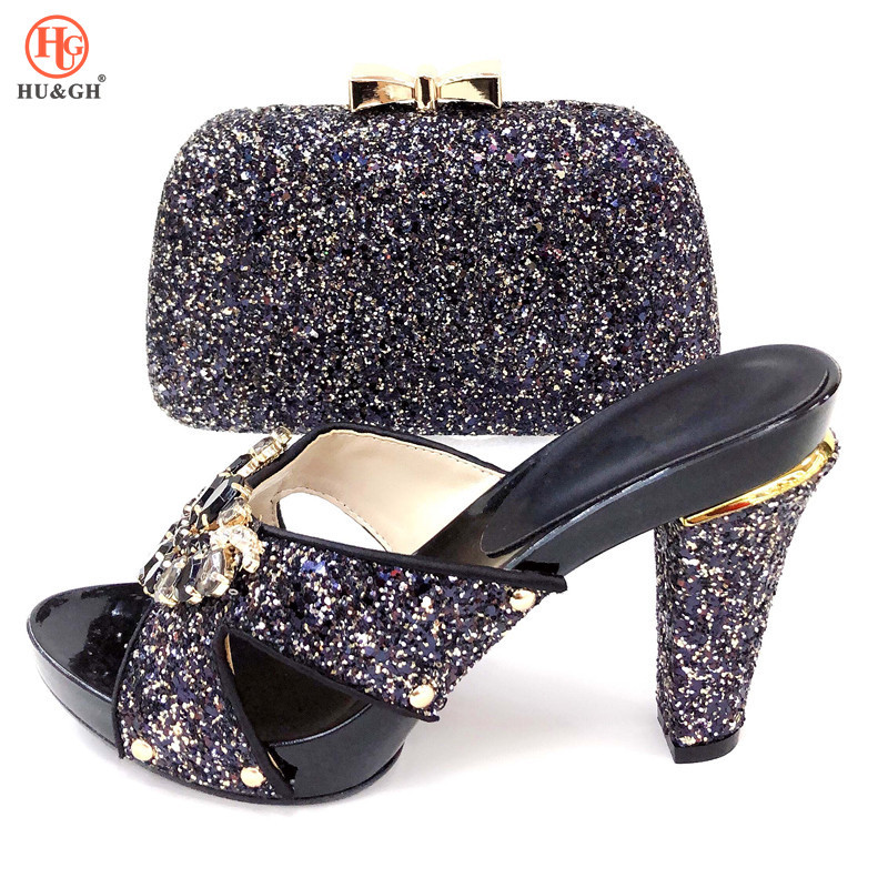 2019 New Nigerian Party Black Shoe and Bag Sets Italian Shoes and Bag Set for party