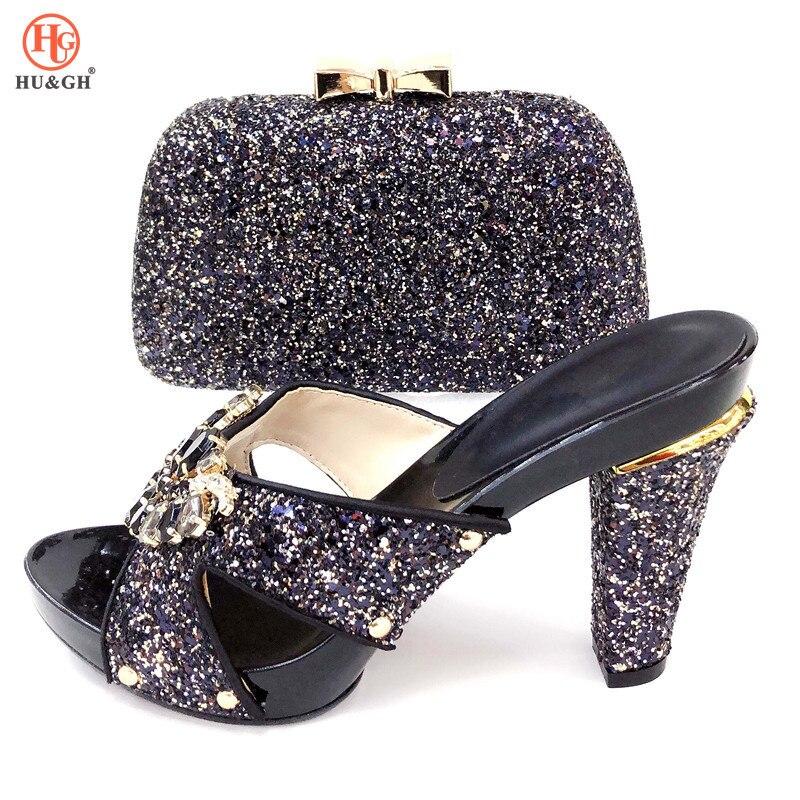 2019 nuevo juego de zapatos y bolsos negros para fiesta nigeriana, juego de zapatos y bolsos italianos para fiesta, zapatos africanos a juego y bolsas para la boda-in Zapatos de tacón de mujer from zapatos    1