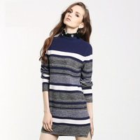 Factory Outlets Autumn Fashion Striped Print Sweaters Turtleneck Long Sleeves Knitted Sweaters Slim Thickening Warm Pullovers