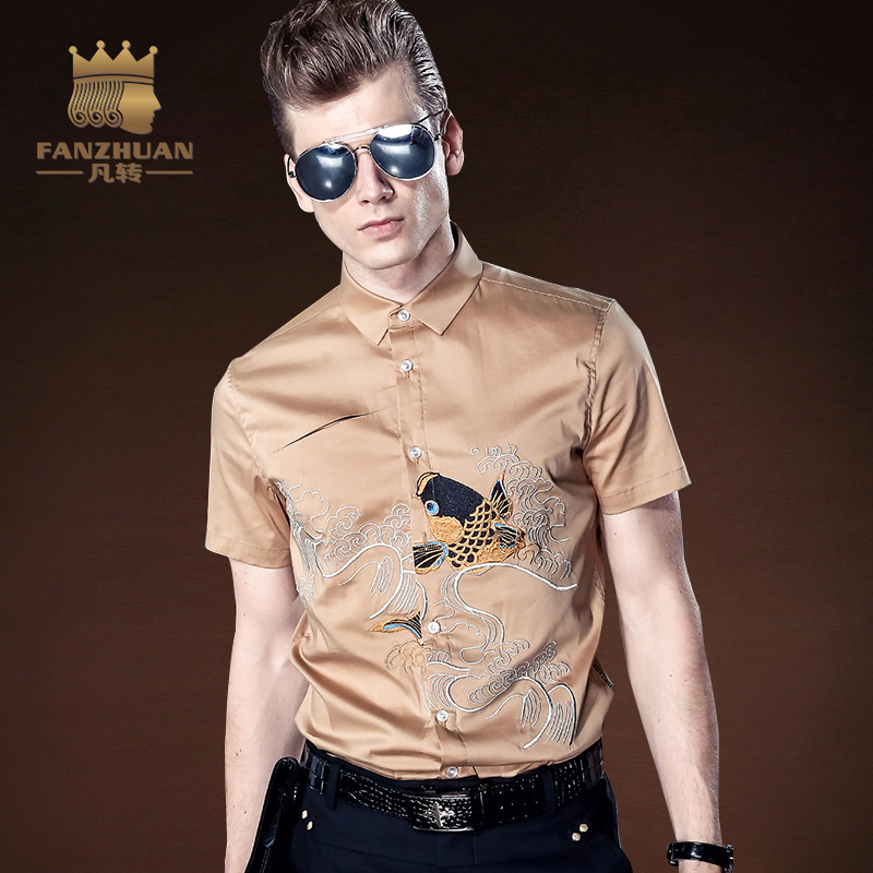8434d9217ba FANZHUAN 2017 Summer New Brand men s casual Short-sleeved shirt Chinese style  Embroidery shirt Khaki