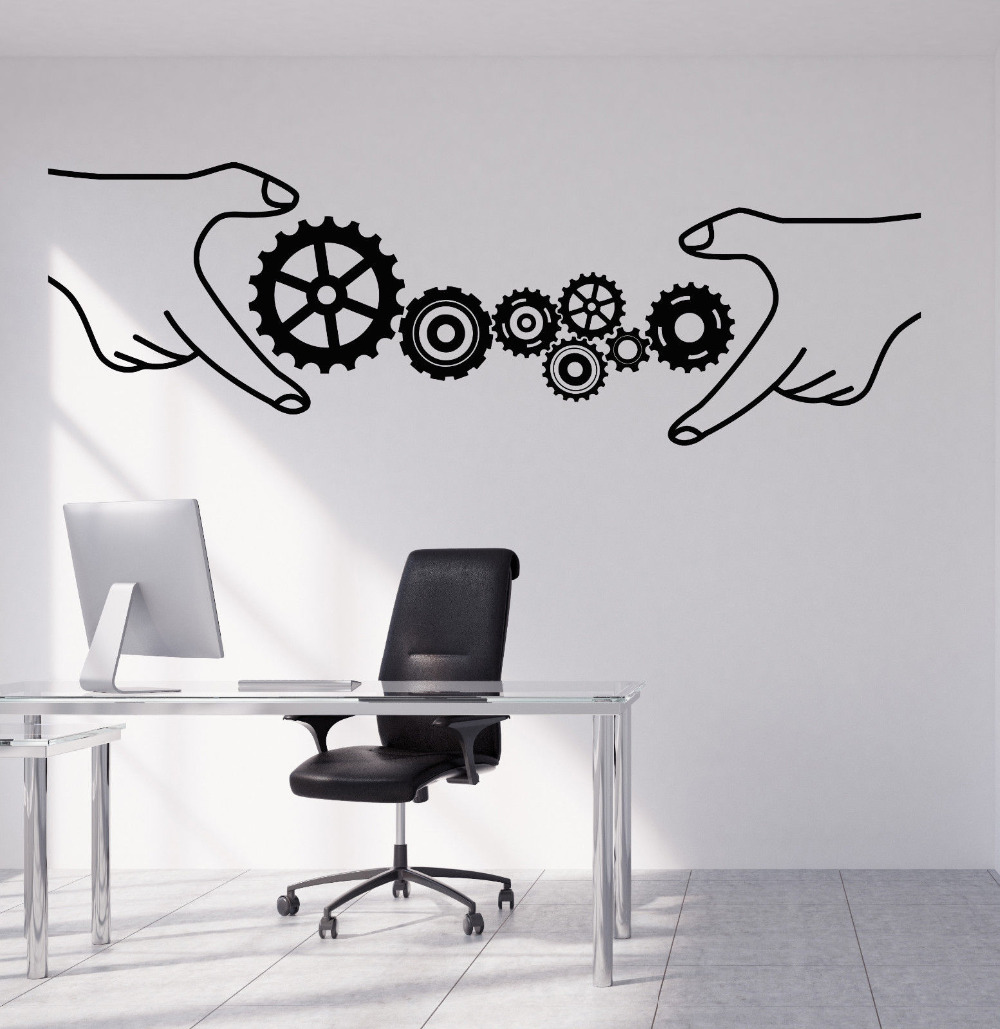 Office Style Vinyl Wall Decal Gears Business Teamwork Stickers Removable Art Mural Interior Wall Decor Quality 3D Poster LA898