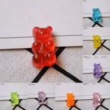 Resin Sugar Dollhouse Gummy Candy Plastic Candy Figurines Miniatures Flatback 20pcs Stationery Box Cute Bear Design