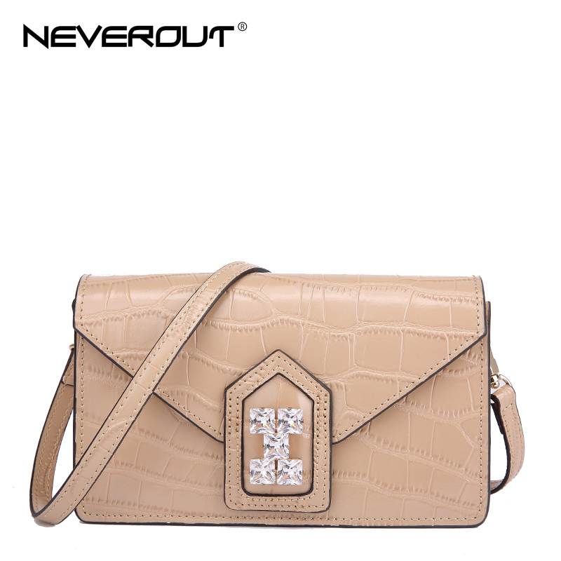 NEVEROUT Luxury Style Name Bag Women Shoulder Sac Split Leather Solid - Bolsos
