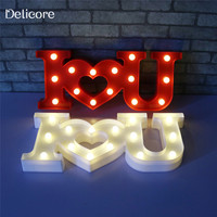 DELICORE 2 Colors USB Powered LED Night Light Sign 3D I love YOU Battery Operated Desk Lamp For Lover's Gift Wedding Decor S150