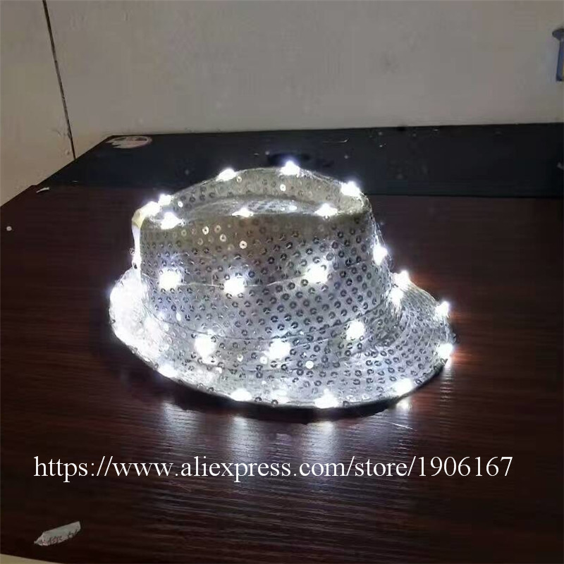 LED Luminous Hip Hop Jazz Hats Growing Flashing Cap Hat Halloween Christmas Party Headwear For Dancing Bar DJ Birthday Gift Hat