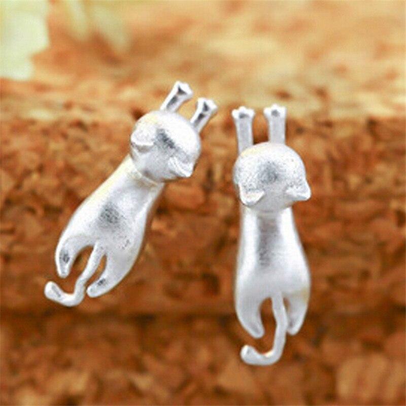 1Pair New Silver Stud Earrings 925 Sterling Cat Silver Earrings Jewelry For Women Statement Earrings