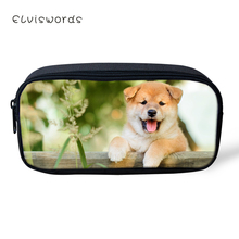 ELVISWORDS Kawaii Kids Pencil Case Shiba Inu Dogs Pattern Students Stationery Box School Pen Bag Cute Animal Womens Beauticians