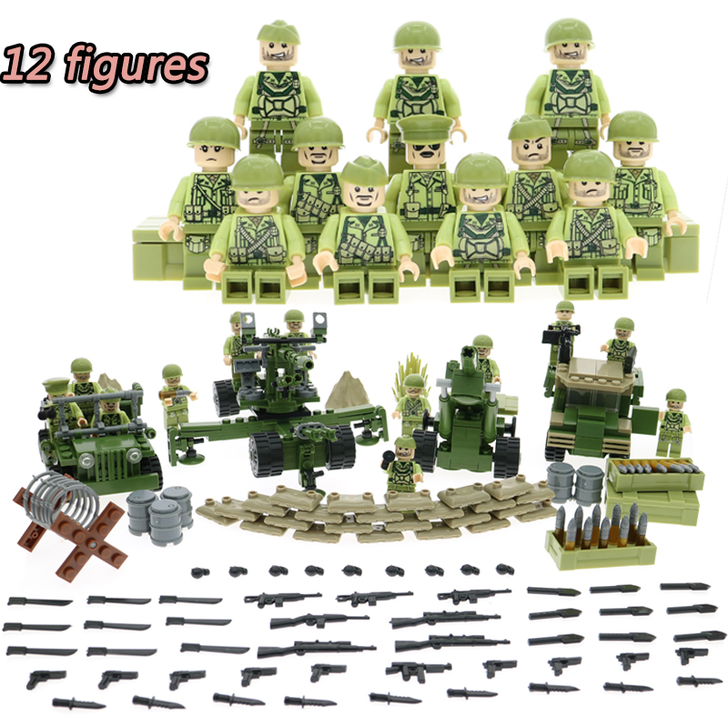 Building Blocks WW2 Tunisia Campaign German Military Army With 12 Mini Soldiers Figures Toys For Children Compatible With Pogo military city police swat team army soldiers with weapons ww2 building blocks toys for children gift