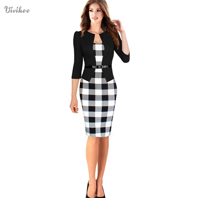 New Three Quarter Sleeve Women Dress font b Tartan b font Patchwork Tunic Dress Work Business