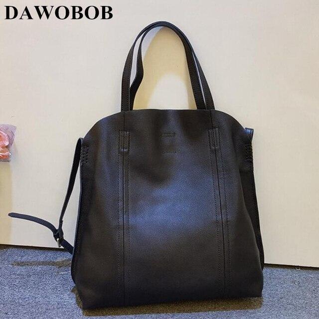 2018 NEW arrival women's genuine leather handbags vintage casual female cowhide bags high quality solid color black shoulder bag