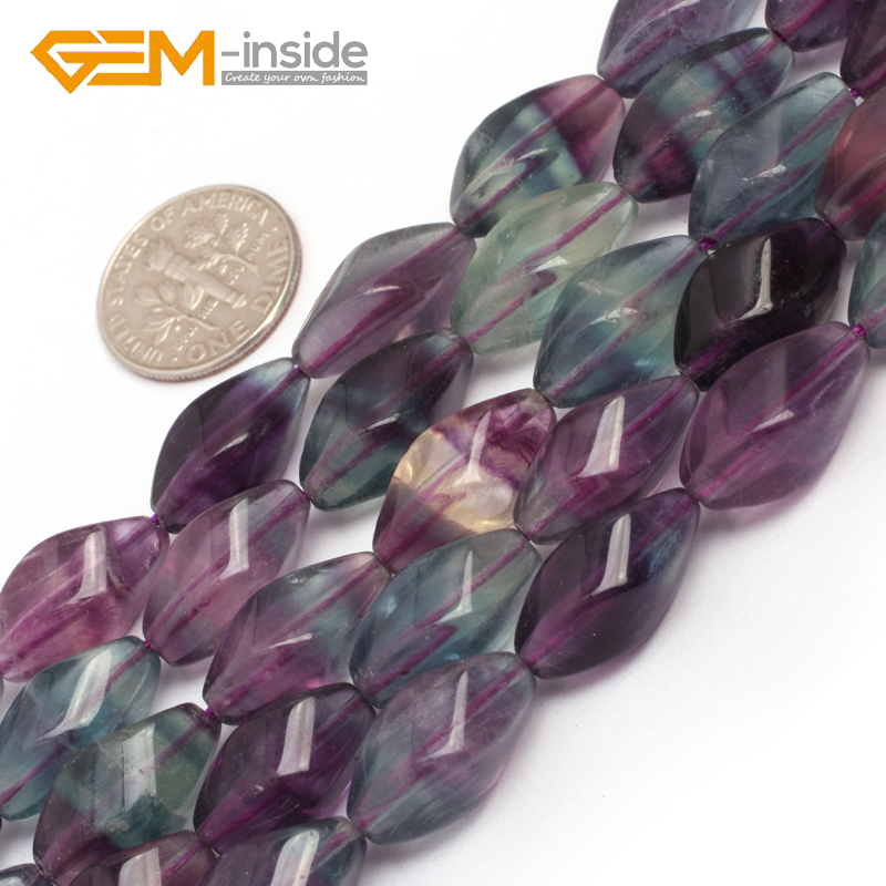 8x16mm twist fluorite beads natural stone loose beads for jewelry making beads strand 15 inches 38