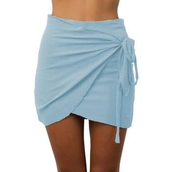 Fashion New Summer Women Tie up Beach Short Skirts Irregular High Waist Skirts Bodycon Wrap Skirt Mini Skirts joelheira magnética alívio