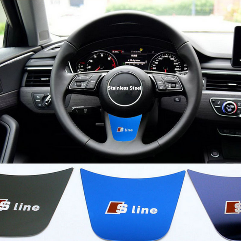 Car 3D Sticker Steering Wheel Decoration Decal stainless steel sline s Emblem Badge Fit For Audi A4 B9 2017 auto chrome camaro letters for 1968 1969 camaro emblem badge sticker
