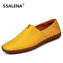 Men Spring Loafers Breathable Soft Leather Casual Shoes for Man Slip On Lightweight Soft Sole Flat Shoes Moccasins AA11565