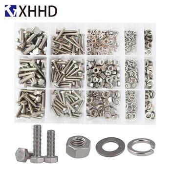 цена DIN933 External Hex Flat Head Screws Metric Thread Hexagon Bolts Nut Flat Washer 304 Stainless Steel Set Assortment Kit M4 M5 M6 онлайн в 2017 году