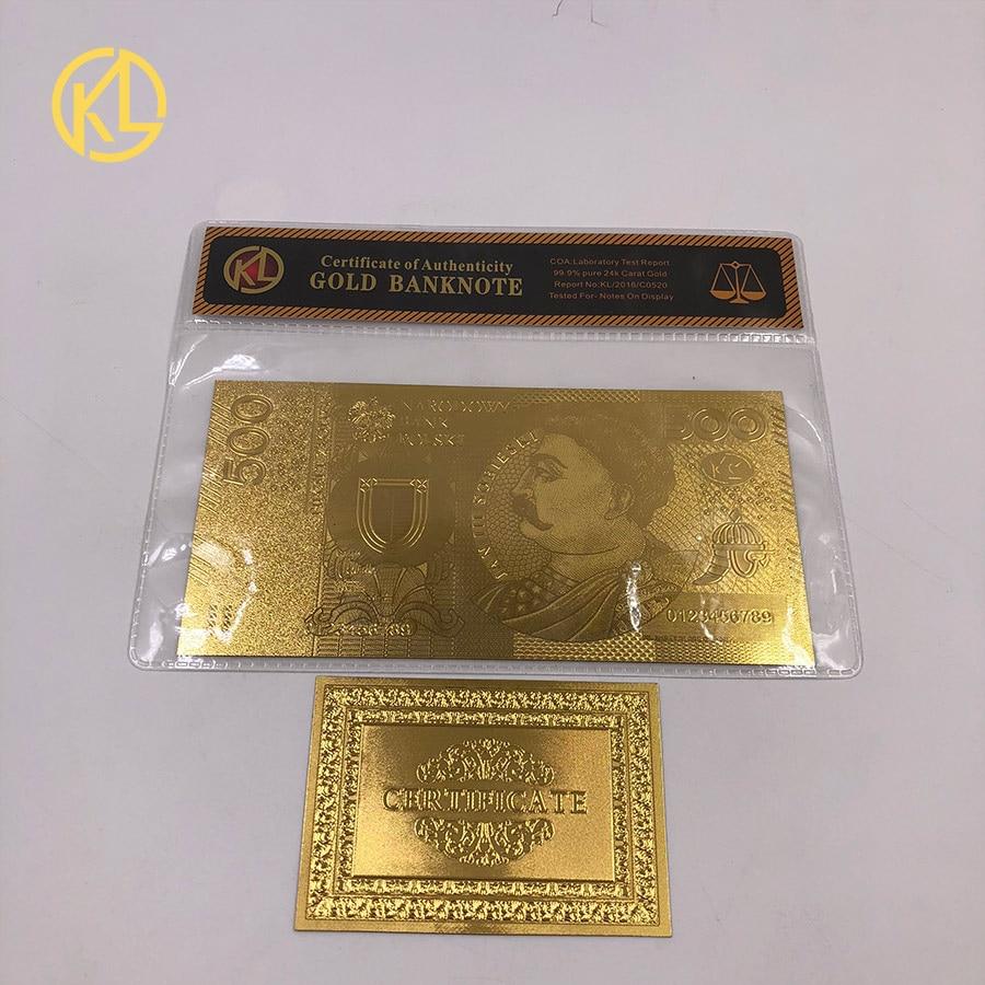 1 шт. unised 1994 Edition Poland Currency designed цветной 24 K позолоченный банкнот 500 PLN для банка подарочные сувениры - Цвет: Лиловый