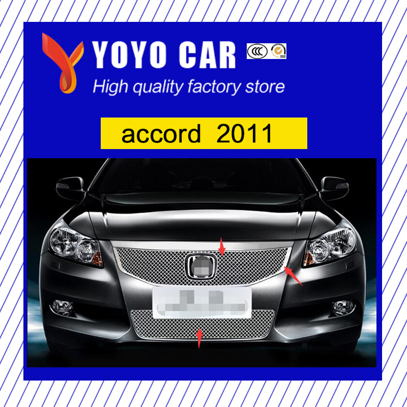 Hot sale 304 Stainless fit well modification car front grille racing <font><b>grills</b></font> <font><b>grill</b></font> cover trim for <font><b>accord</b></font> <font><b>2008</b></font> 2011 image