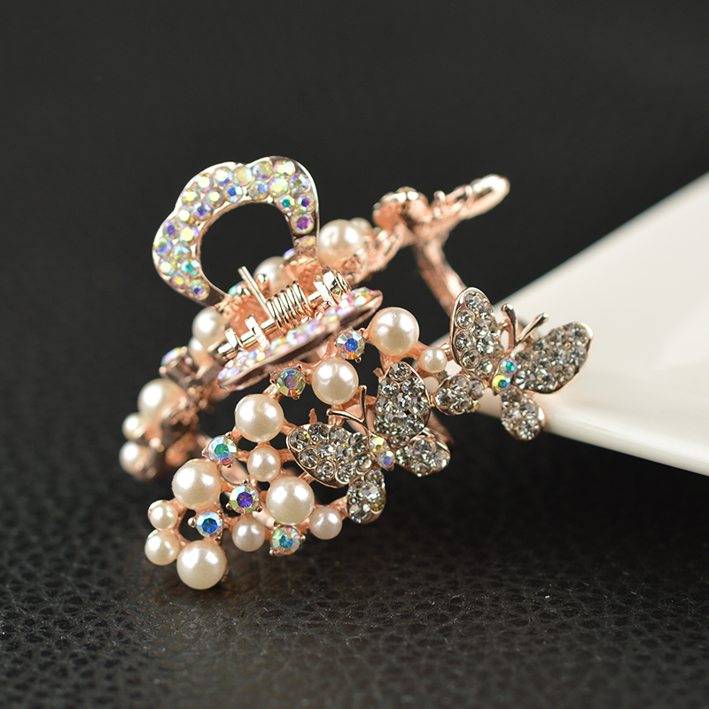 Women Headwear Gift Rhinestone Hair Claw Butterfly Flower Hair Clip  5.5cm Long Middle Size Bow Hair Accessories For Girls women headwear 2017 retro hair claw cute hair clip for girls show room vitnage hair accessories for women