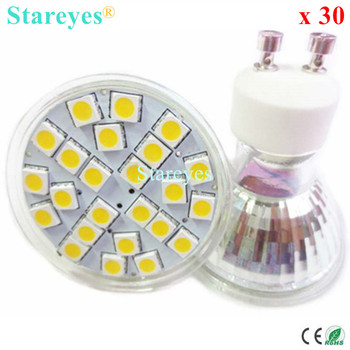 Free Shipping 30 pcs SMD 5050 24 LED 5W GU10 E27 MR16 AC110-240V DC12V LED Spot light bulb light downlight lamp lighting