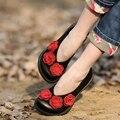Impressão Superficial Moer Couro Arenosos Mulheres Confortáveis Sapatos de Couro Genuíno Sapatos Casuais 18707-15
