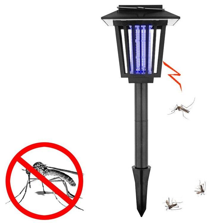 1pcs 2 leds outdoor solar powered Purple Wave Mosquito Killer Lamp Fly Bug Zapper light for Garden Lawn solar pool algae bacterial viruses killer