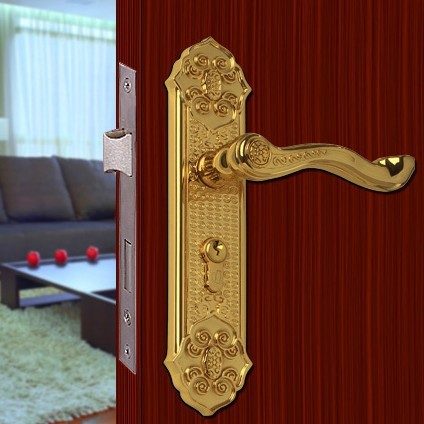 Chinese antique LOCK Gold-plated Door lock handle door levers out door  furniture door handle - Chinese Antique LOCK Gold Plated Door Lock Handle Door Levers Out