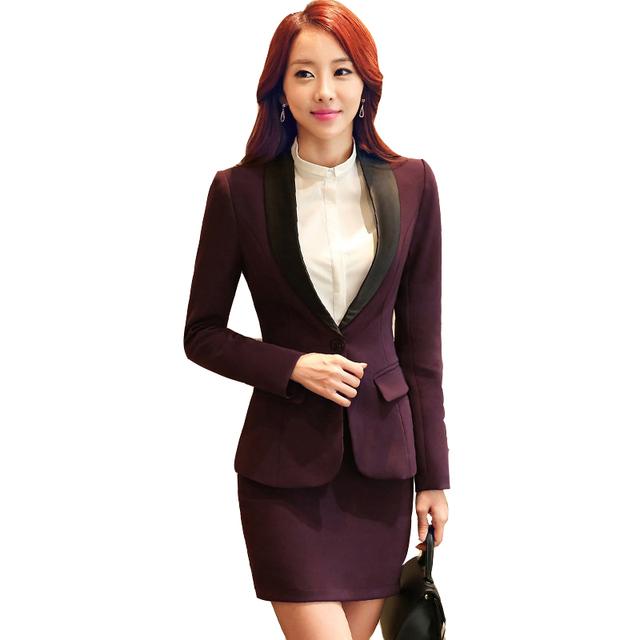 2016 outono elegante fino blazer com saia desgaste do trabalho das mulheres saia ternos escritório formais ferramental plus size S-4XL