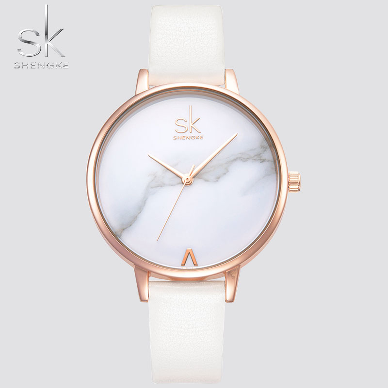 Shengke Top Brand Watches Women Luxury Leather Watch Casual Pink Leather Dress Wrist Watch Relogio Feminino Montre Femme xfcs SK 2016 top julius brand luxury crystal watches leather strap rhinestone fashion qaurtz wrist watch montre femme relogio feminino