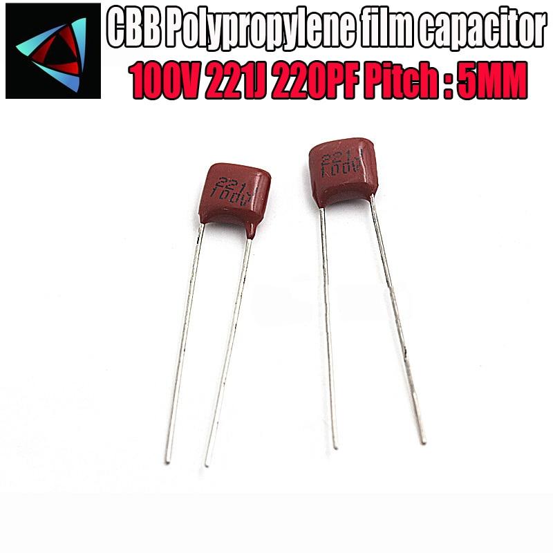 50PCS 100V 221J 220PF 5% Pitch 5mm 220P 221 100V CBB Polypropylene Film Capacitor