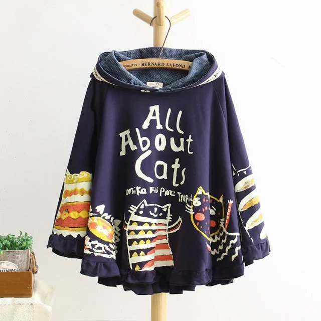 2017 New Autumn And Winter Hoodies Hooded Loose Print Cat 2 Colour Kawaii Japan Style Harajuku Hoodies Tops Cute Warm